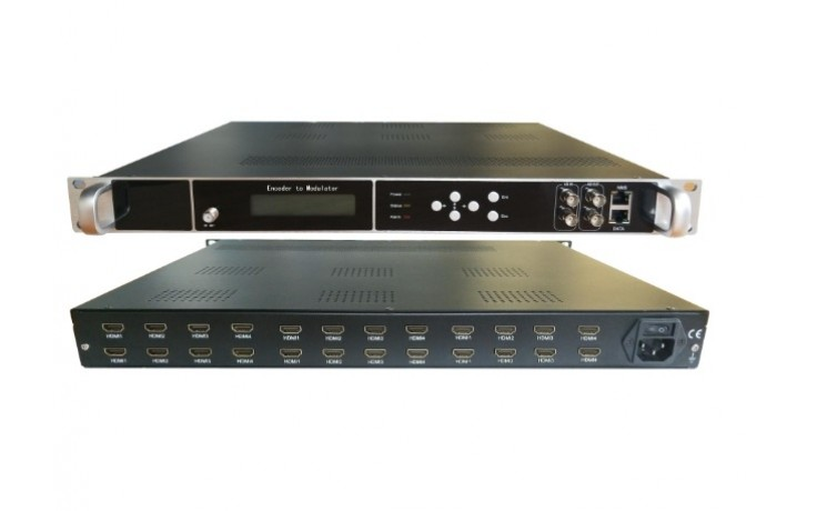 HD244-20  20 x HDMI Input, HD MPEG4 modulator with 8 x DVBT carriers out, and IP in and out.