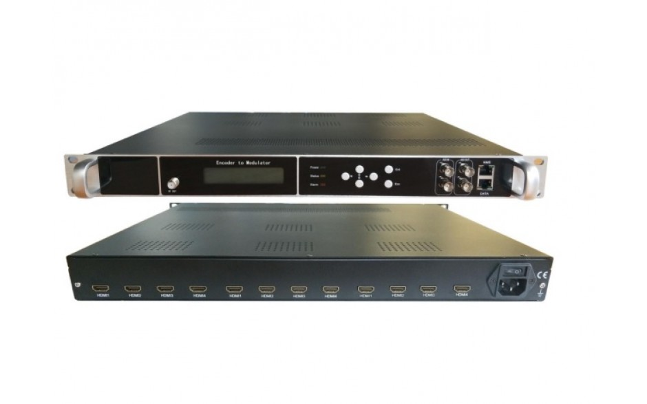 HD244-12  12 x HDMI Input, HD MPEG4 modulator with 4 x DVBT carriers out, and IP in and out.